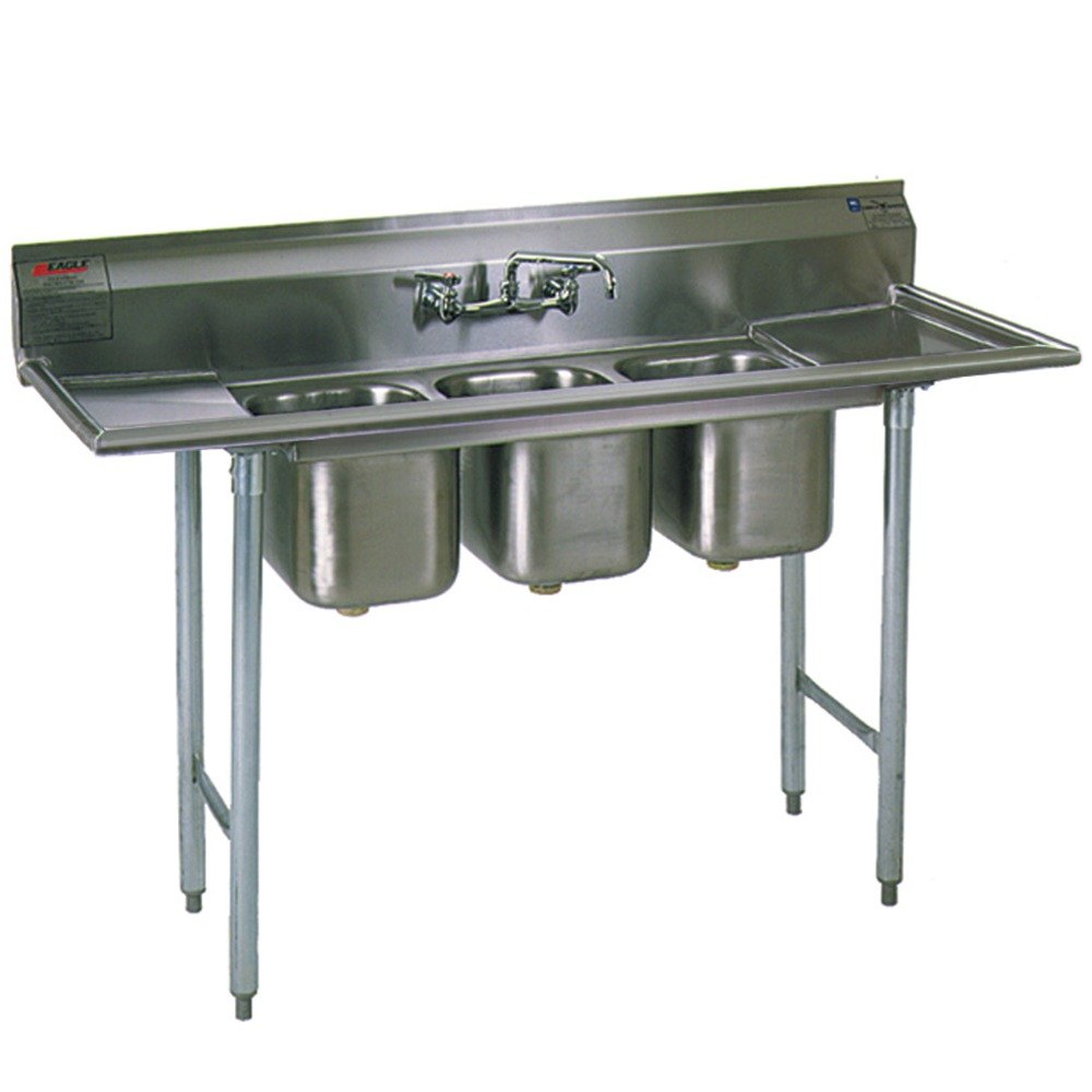 "Eagle Group 312-12-3-12 Three 20"" x 12"" Bowl Stainless Steel Commercial Compartment Sink with Drainboard at Sears.com"
