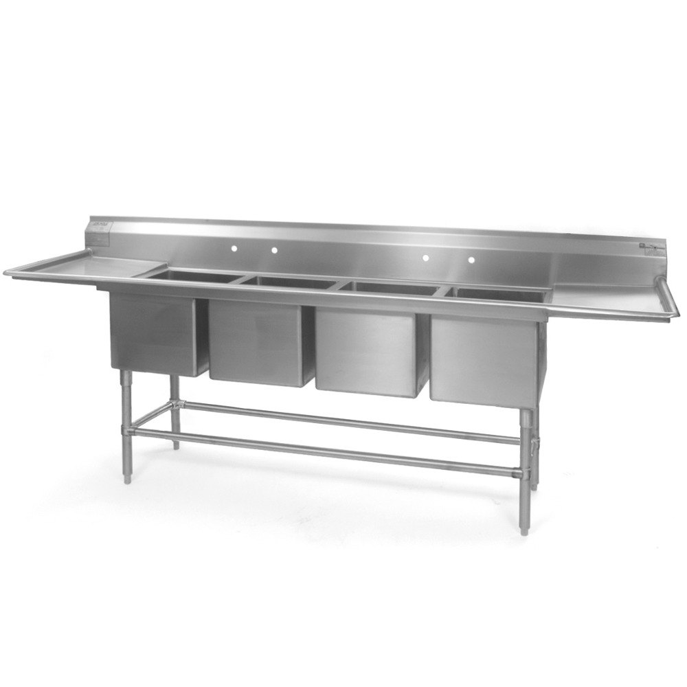 "Eagle Group FN2072-4-24-14/3 Four 20"" x 18"" Bowl Stainless Steel Spec-Master Commercial Compartment Sink with Two 24"" Drainboard at Sears.com"