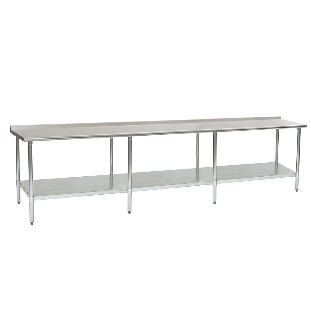 "Eagle Group UT24144SE 24"" x 144"" Stainless Steel Work Table with Undershelf and 1 1/2"" Backsplash"