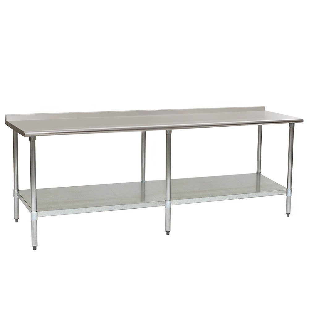 eagle group ut3096e 30 x 96 stainless steel work table with undershelf and 1 12 backsplash