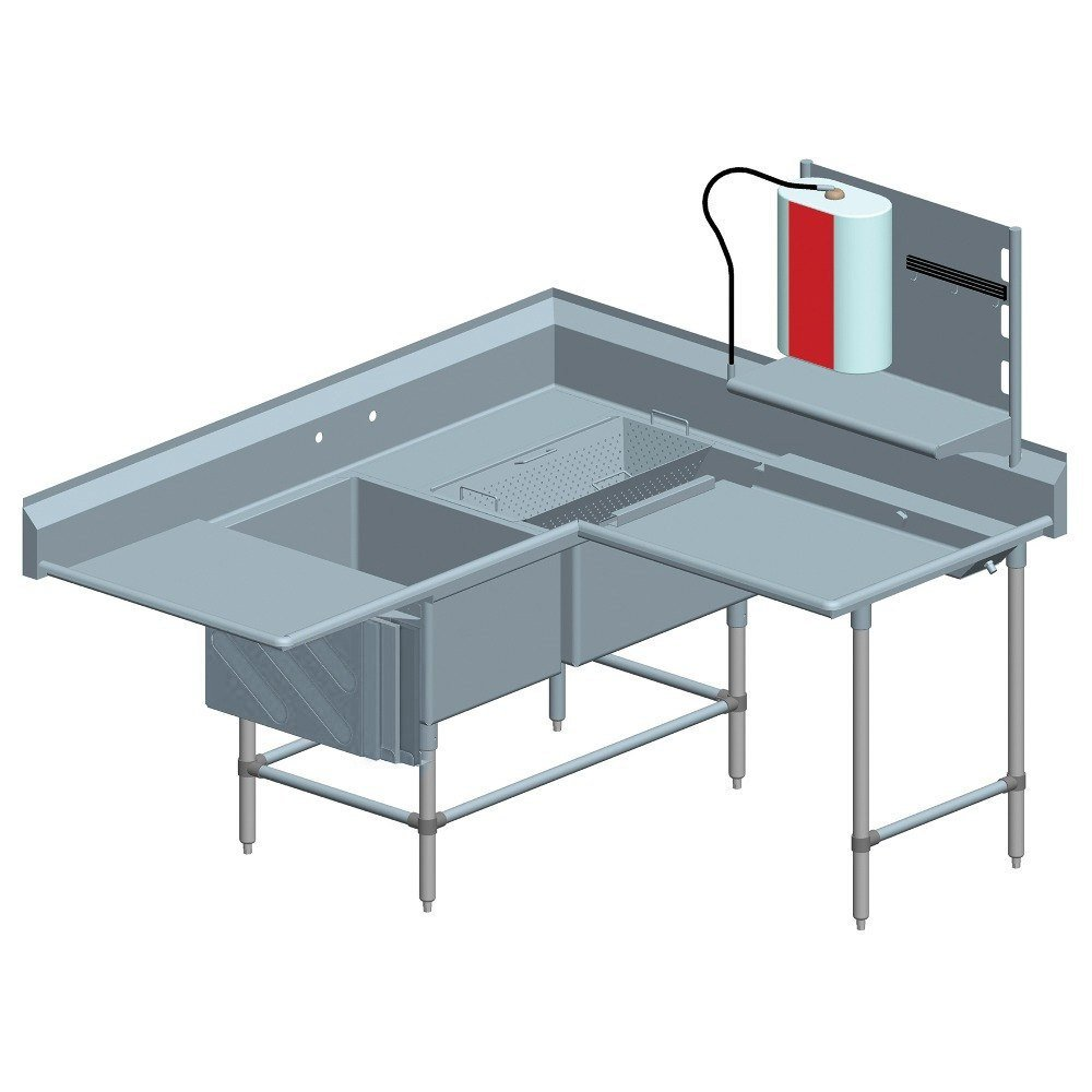 ... Stainless Steel Spec-Master Commercial Corner Compartment Prep Sink