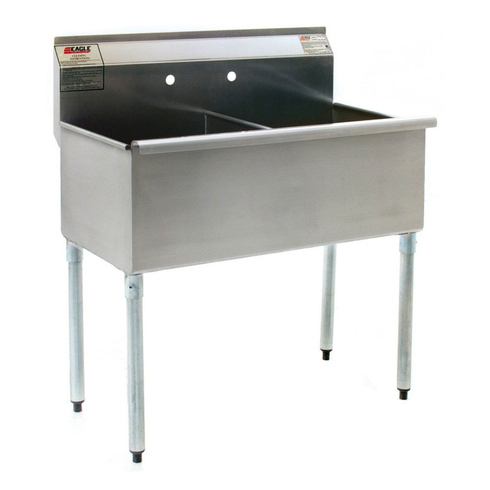 ... Stainless Steel Commercial Sink with Two Drainboards - 96 1/4