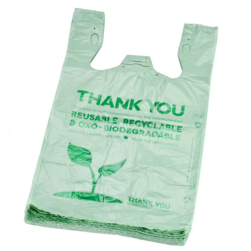 Green herc 1 6 size green biodegradable plastic t shirt for Plastic bags for t shirts