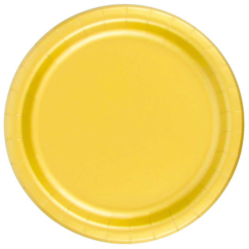 yellow paper plates The yellow 7 paper plates are colorful addition to any party and are perfect for appetizers and desserts sold in packages of 24.