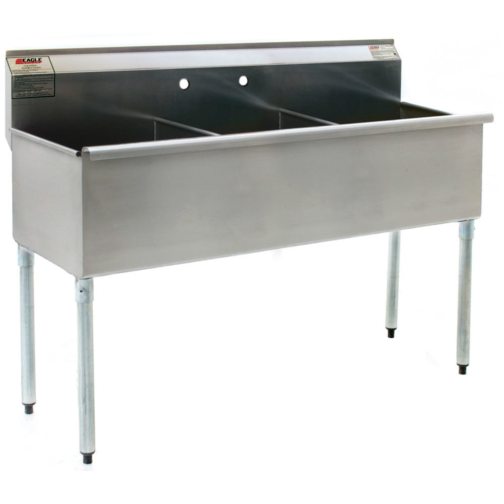 Eagle Group 2448-3-16/4 Three Compartment Stainless Steel Commercial Sink without Drainboard - 49 3/8""