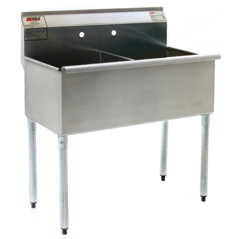 ... Stainless Steel Commercial Sink without Drainboard - 37 3/8