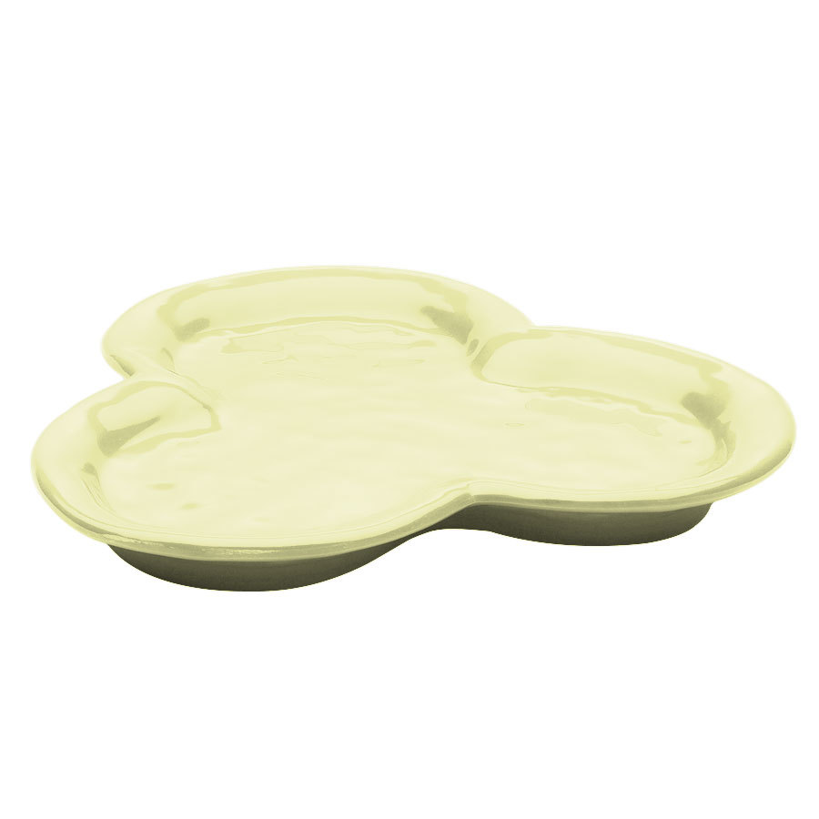 "Elite Global Solutions D825P Tuscany 8"" Weeping Willow Green Melamine Three Compartment Plate"