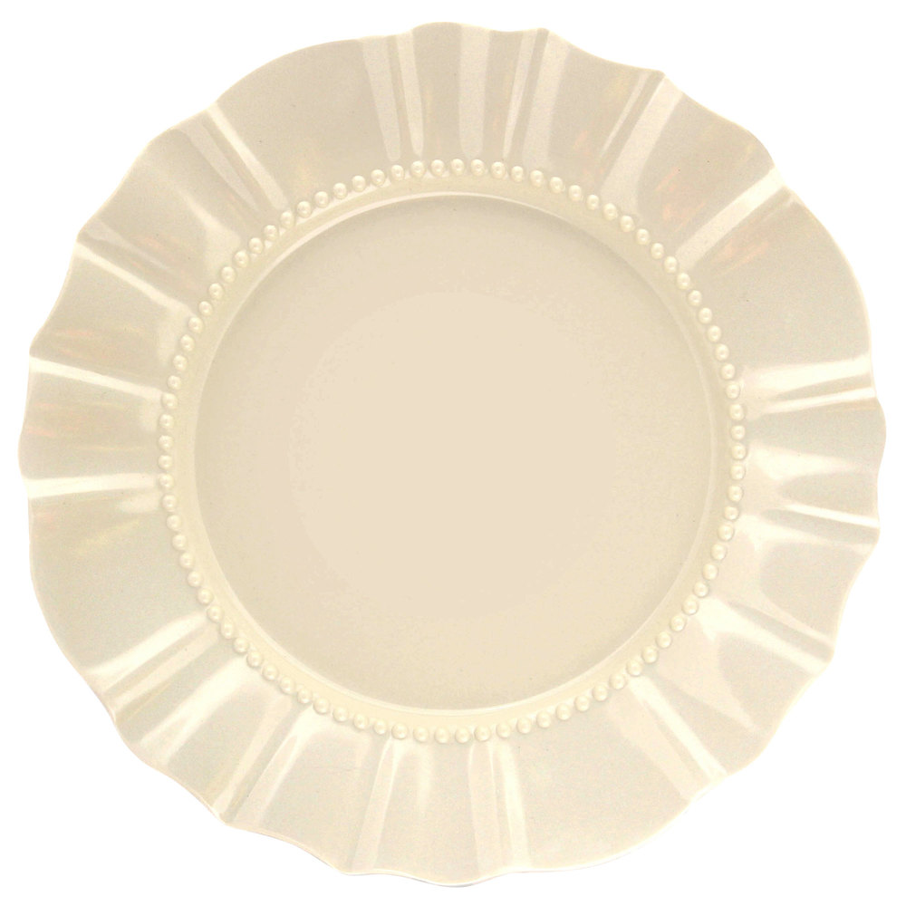 "Elite Global Solutions D111 Country Fixin's Antique White 11 3/4"" Round Melamine Plate"