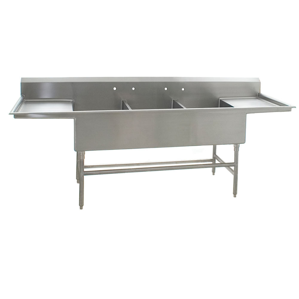 Commercial Sink 3 Compartment : ... Flush Front Commercial Compartment Sink with Two 24