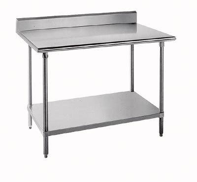 "Advance Tabco 14 Gauge Advance Tabco KLG-367 36"" x 84"" Work Table with Galvanized Undershelf and 5"" Backsplash at Sears.com"