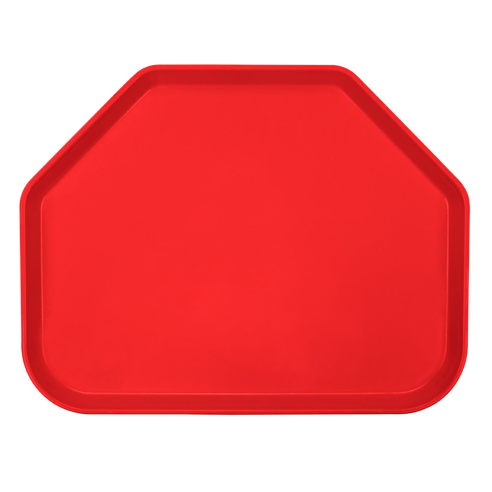 "Cambro 1418TR510 14"" x 18"" Trapezoid Signal Red Fiberglass Camtray - 12 / Case"