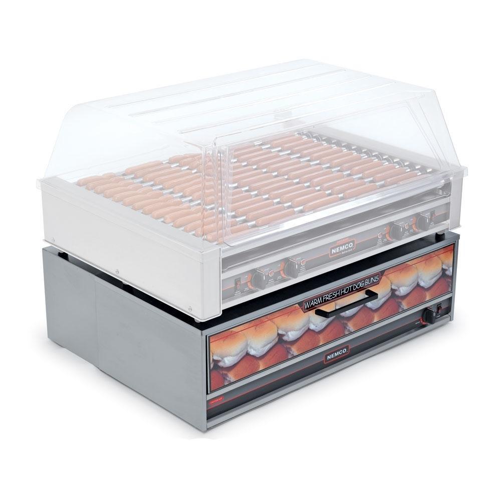Nemco 8075 bw moist heat hot dog bun warmer for 8075 - Hot dog roller grill with bun warmer ...
