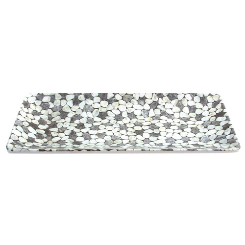 "Elite Global Solutions M168RC Rock On Gray River Rock 16"" x 8"" Rectangular Platter"