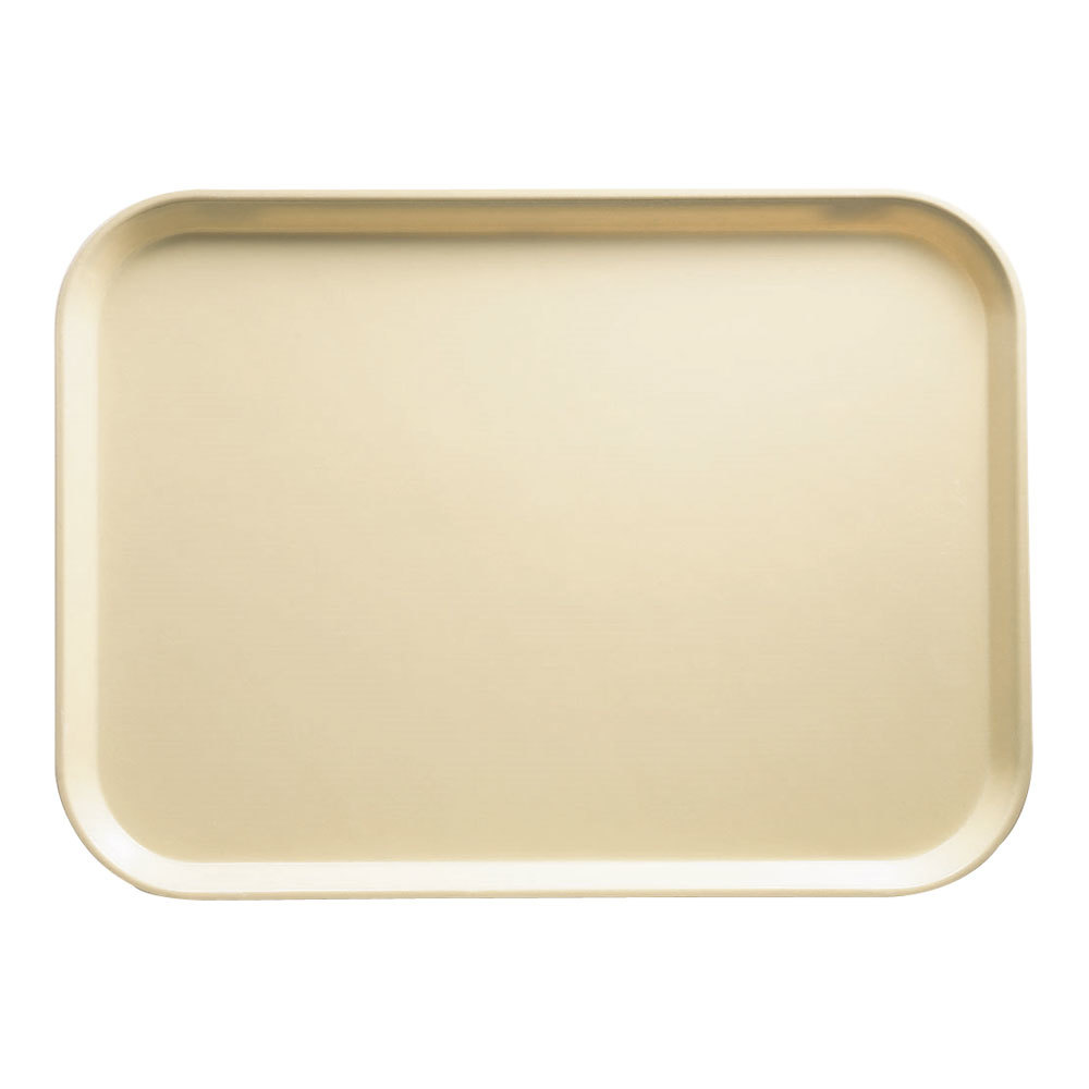 "Cambro 1622537 16"" x 22"" Rectangular Cameo Yellow Fiberglass Camtray - 12 / Case"