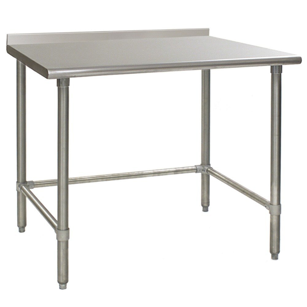 "Eagle Group UT3648GTEB 36"" x 48"" Open Base Stainless Steel Commercial Work Table with 1 1/2"" Backsplash"