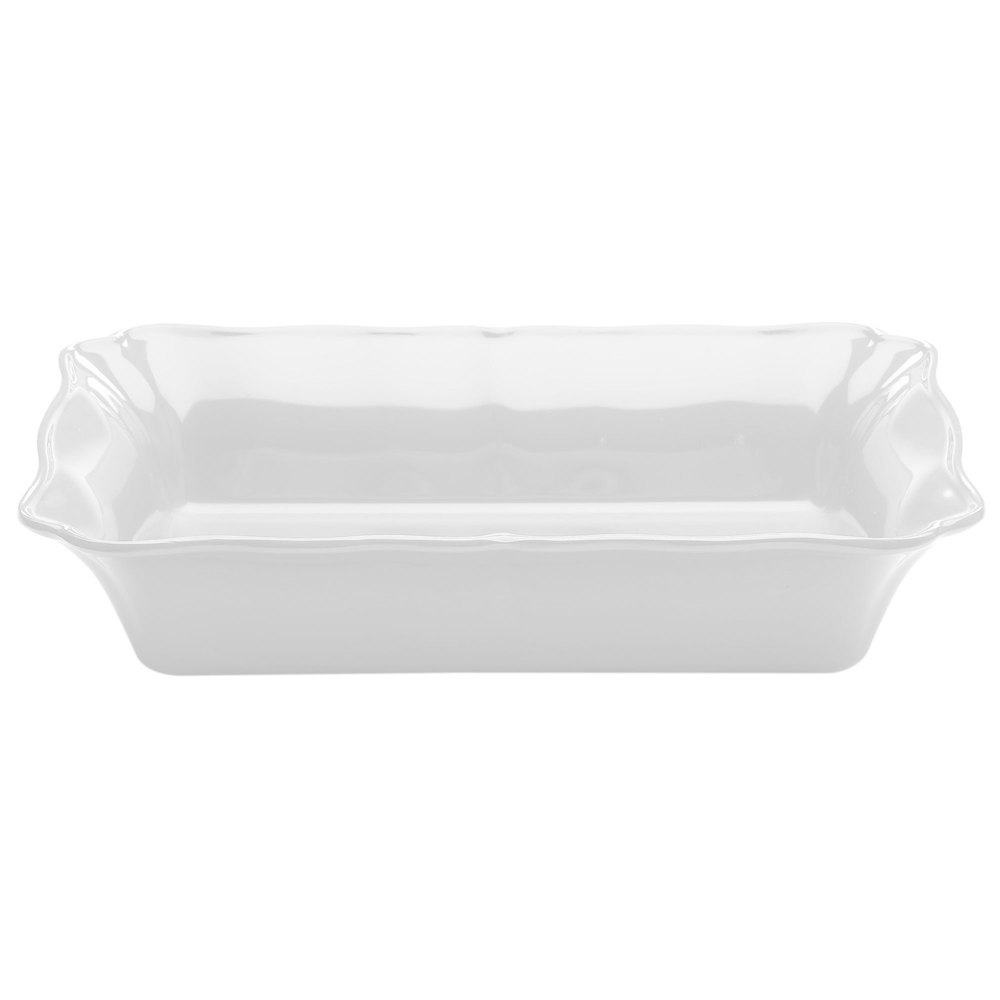 Elite Global Solutions M1410RC The Bakers 4 Qt. Display White Rectangular Melamine Dish