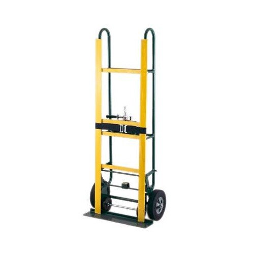Harper 6968-18 800 lb. Safety Appliance Truck with Ratchet and Mold-On Rubber / Hard Core, Soft Tread Wheels - 14 Gauge