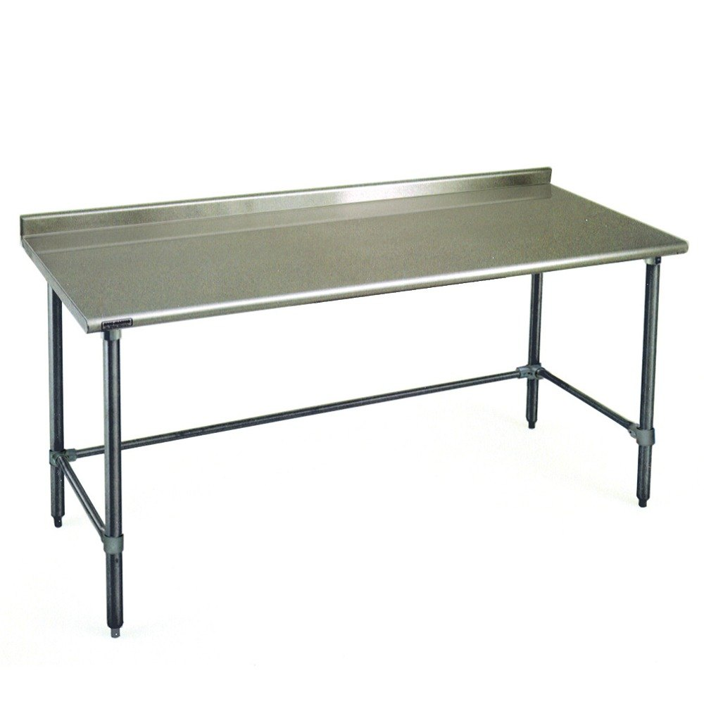 "Eagle Group UT3072STEB 30"" x 72"" Open Base Stainless Steel Commercial Work Table with 1 1/2"" Backsplash"
