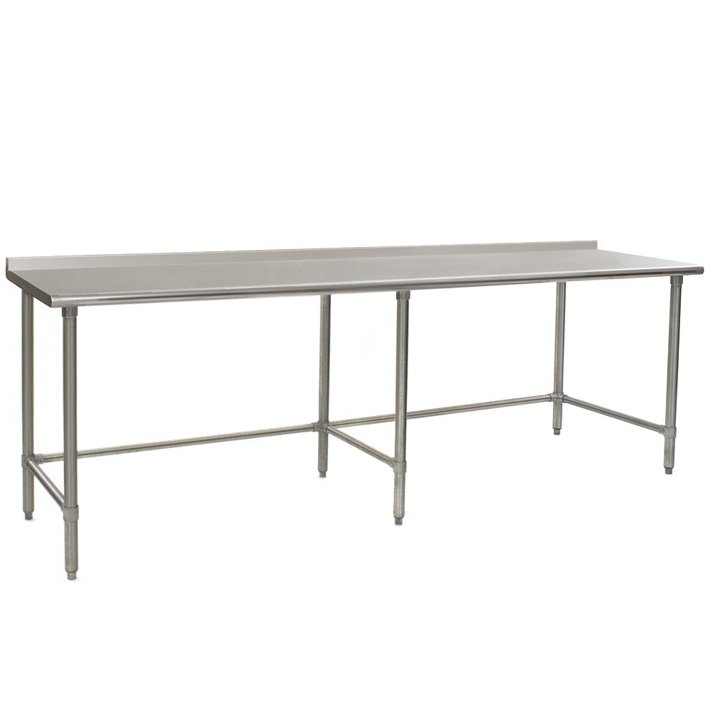"Eagle Group UT2496GTE 24"" x 96"" Open Base Stainless Steel Commercial Work Table with 1 1/2"" Backsplash"