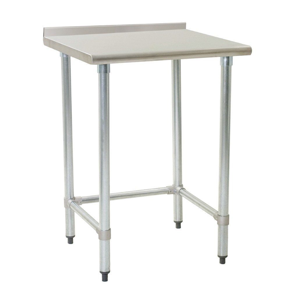 "Eagle Group UT3036GTE 30"" x 36"" Open Base Stainless Steel Commercial Work Table with 1 1/2"" Backsplash"