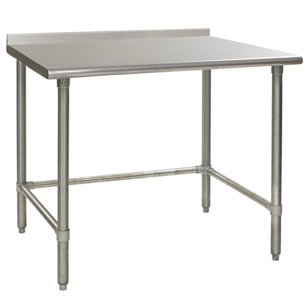 "Eagle Group UT2448STB 24"" x 48"" Open Base Stainless Steel Commercial Work Table with 1 1/2"" Backsplash"