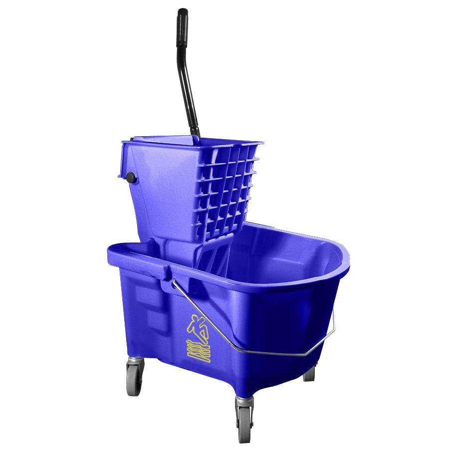 Continental 226-312BL Blue 26 Quart Splash Guard Side-Press Wringer and Mop Bucket