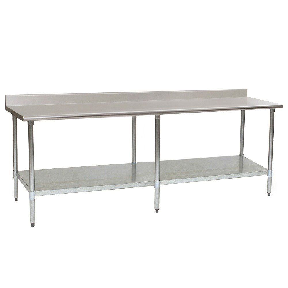 "Eagle Group T24108EM-BS 24"" x 108"" Stainless Steel Work Table with Galvanized Undershelf and 4 1/2"" Backsplash at Sears.com"