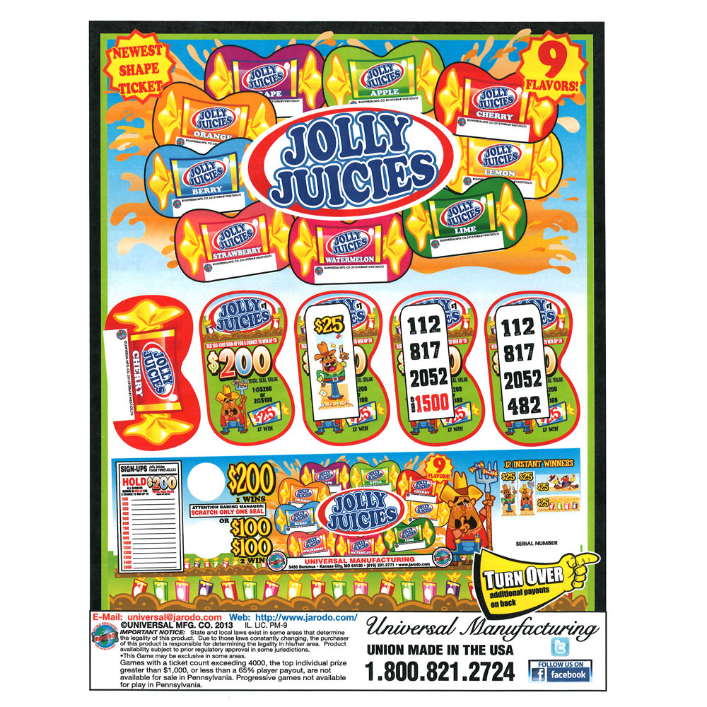 """""""Jolly Juicies"""" 1 Window Pull Tab Tickets - 657 Tickets Per Deal - Total Payout: $535 at Sears.com"""