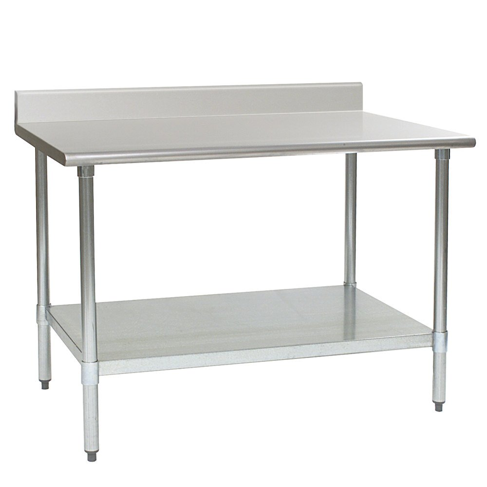 "Eagle Group T2436E-BS 24"" x 36"" Stainless Steel Work Table with Galvanized Undershelf and 4 1/2"" Backsplash"