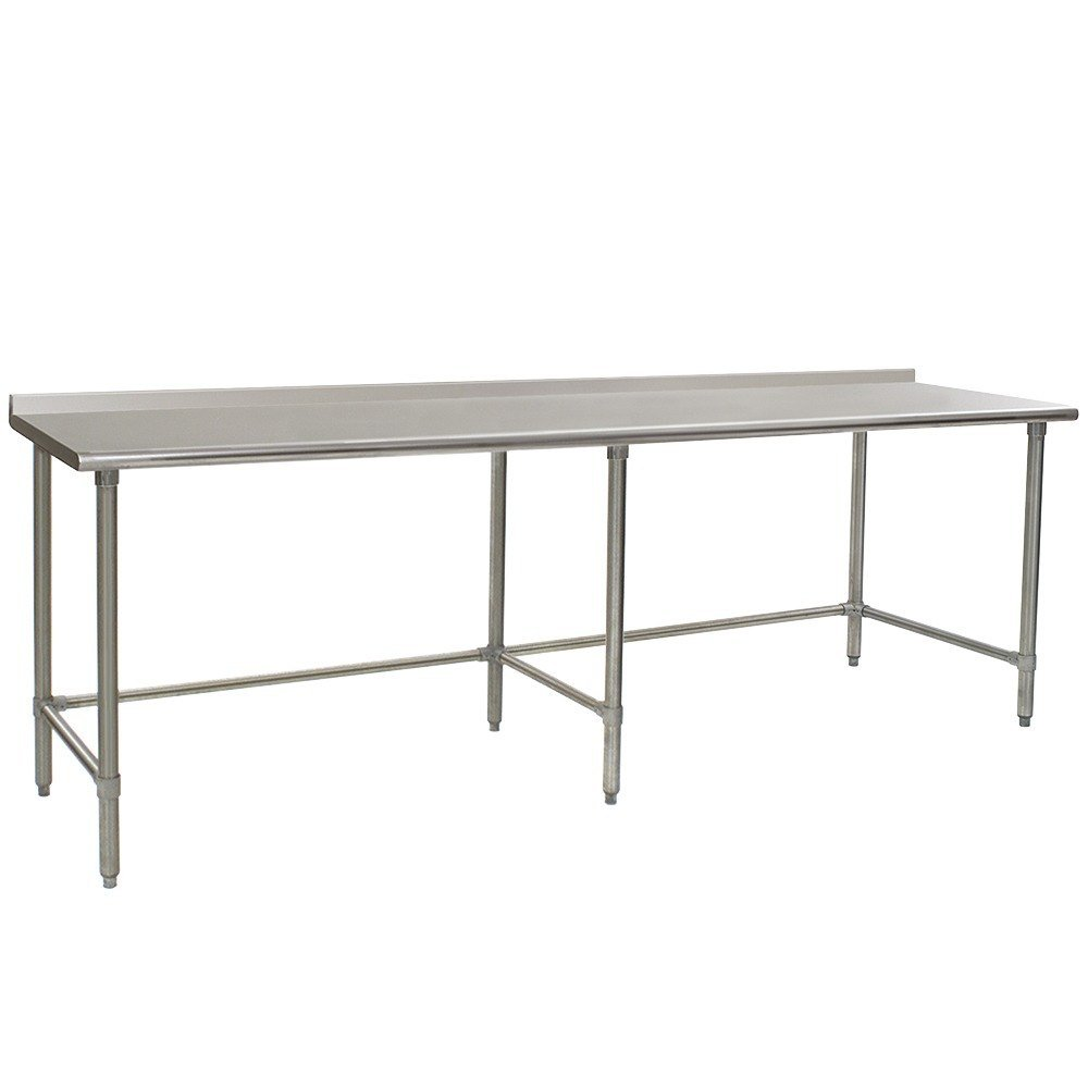 "Eagle Group UT3696TE 36"" x 96"" Open Base Stainless Steel Commercial Work Table with 1 1/2"" Backsplash"
