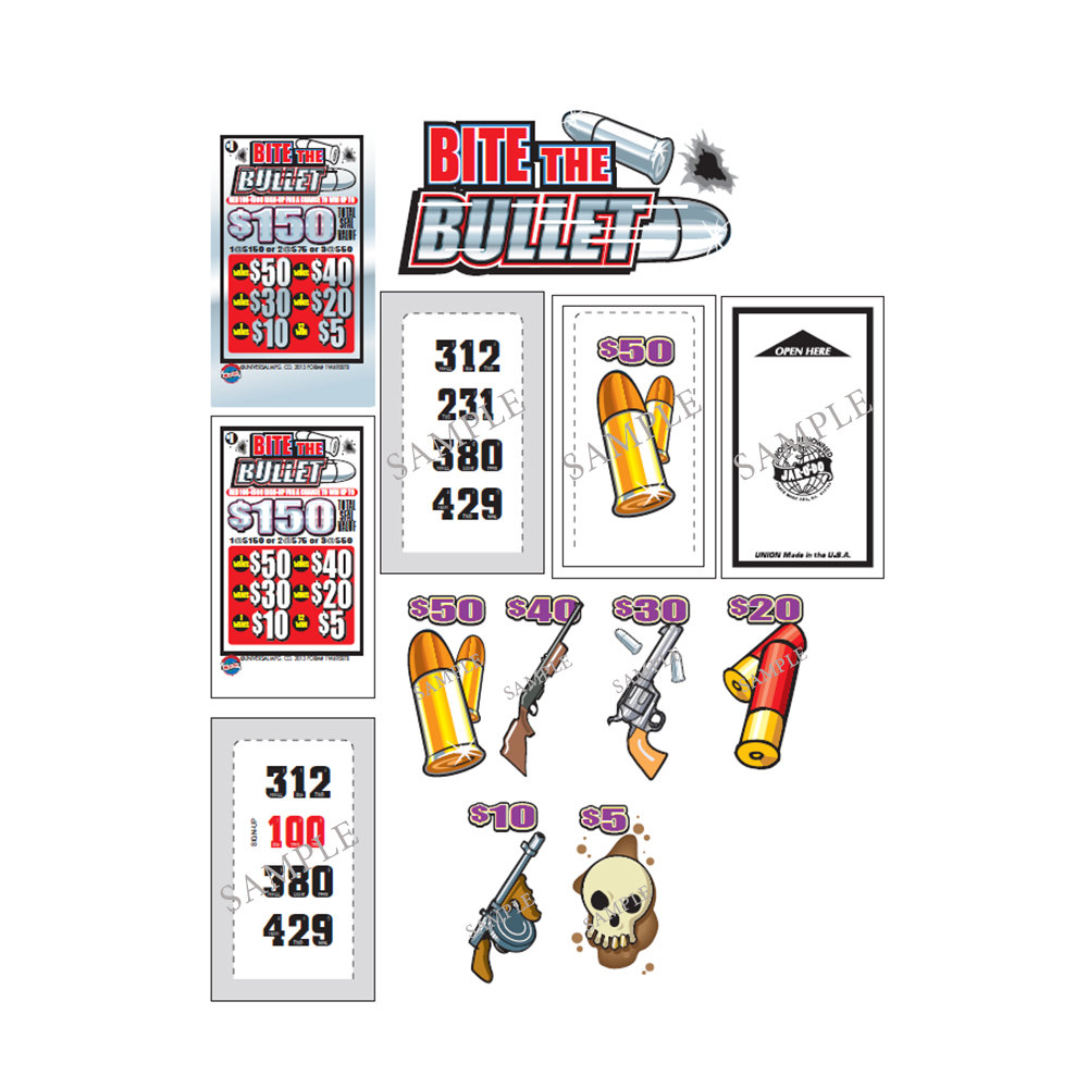 """""""Bite the Bullet"""" 1 Window Pull Tab Tickets - 495 Tickets Per Deal - Total Payout: $360 at Sears.com"""