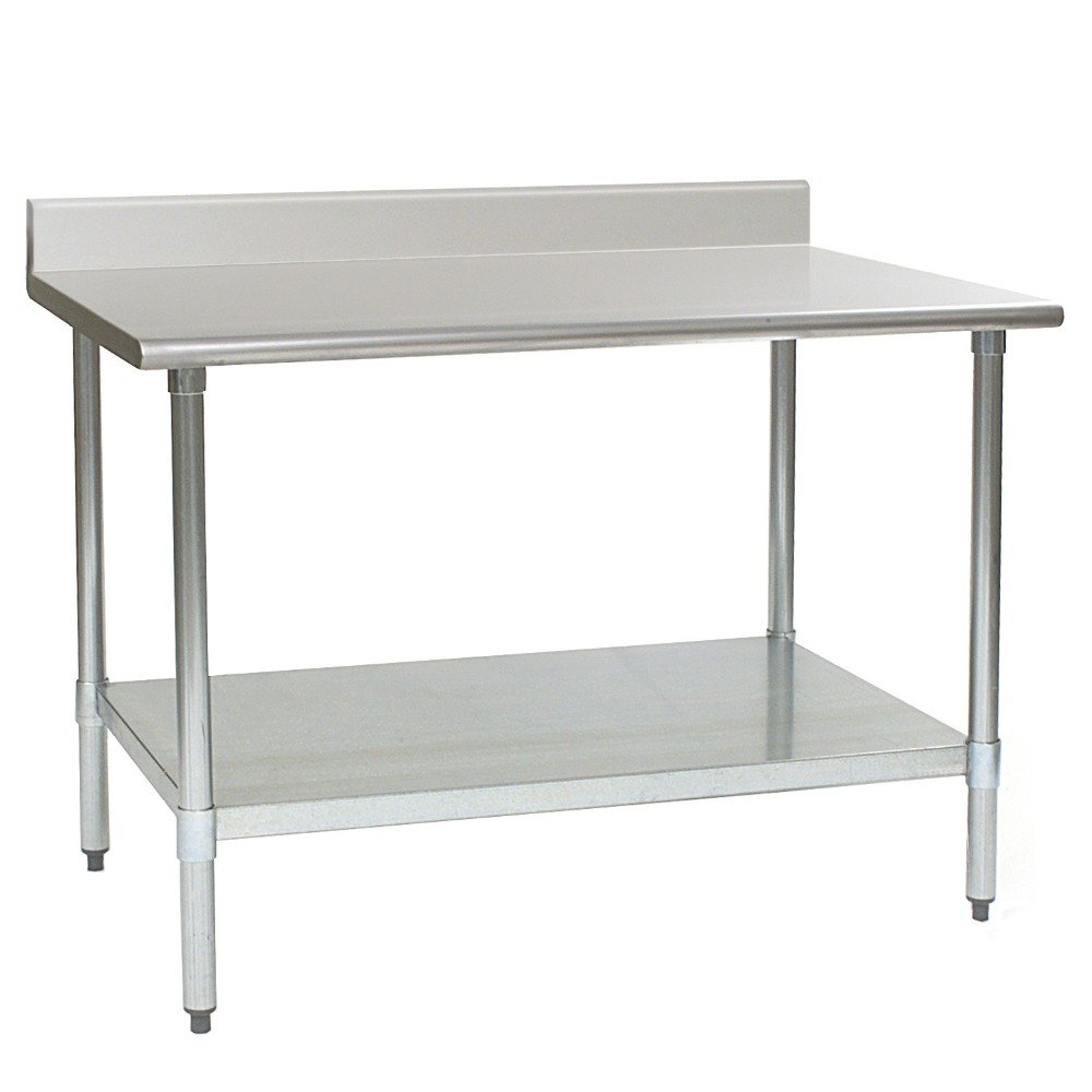 "Eagle Group T3060SEB-BS 30"" x 60"" Stainless Steel Work Table with Undershelf and 4 1/2"" Backsplash"