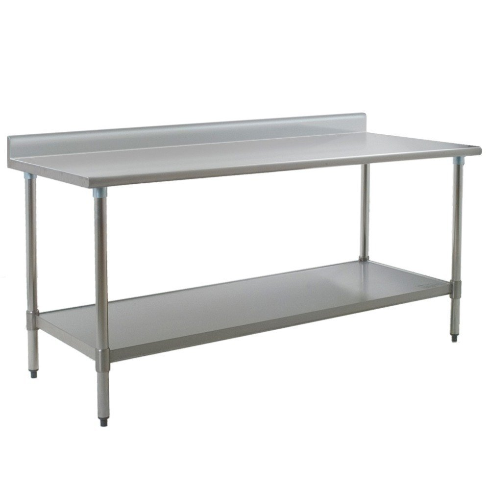 eagle group t3072se bs 30 x 72 stainless steel work table with undershelf and 4 12 backsplash - Stainless Steel Work Table With Backsplash