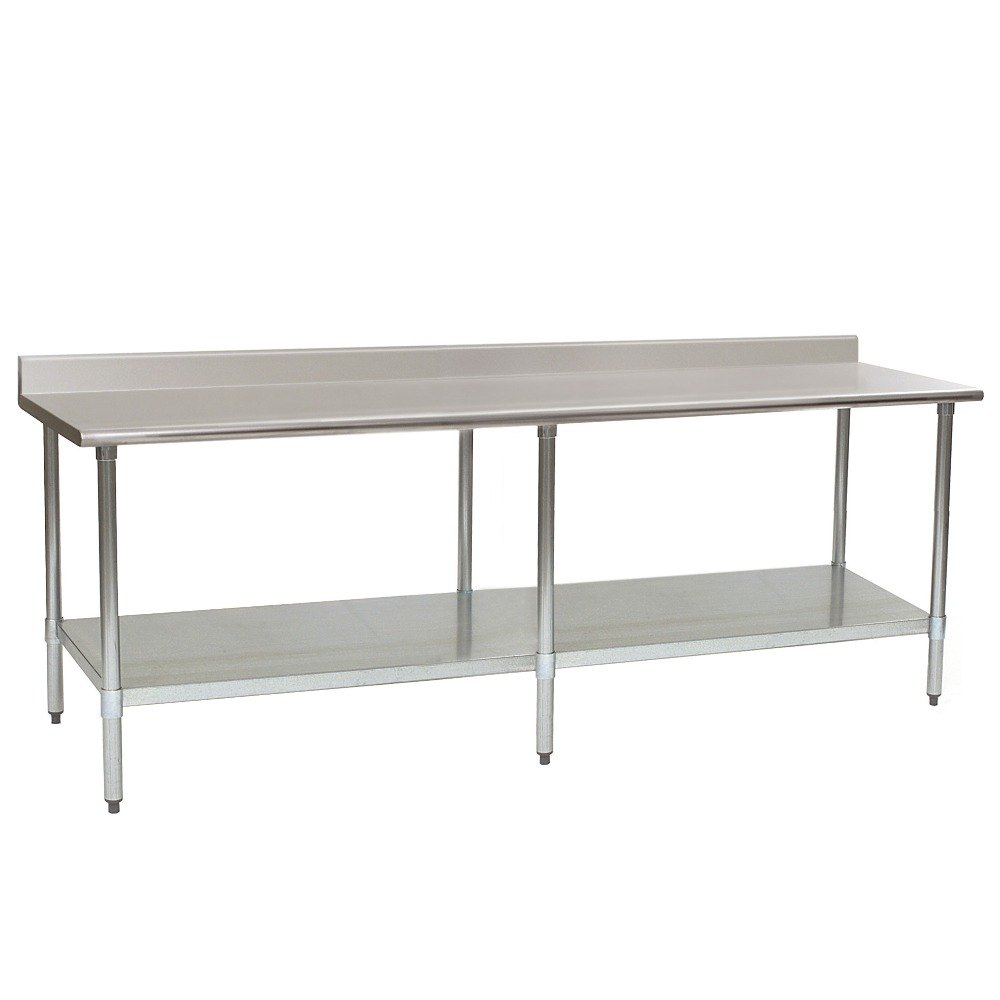 "Eagle Group T3696SEM-BS 36"" x 96"" Stainless Steel Work Table with Undershelf and 4 1/2"" Backsplash"