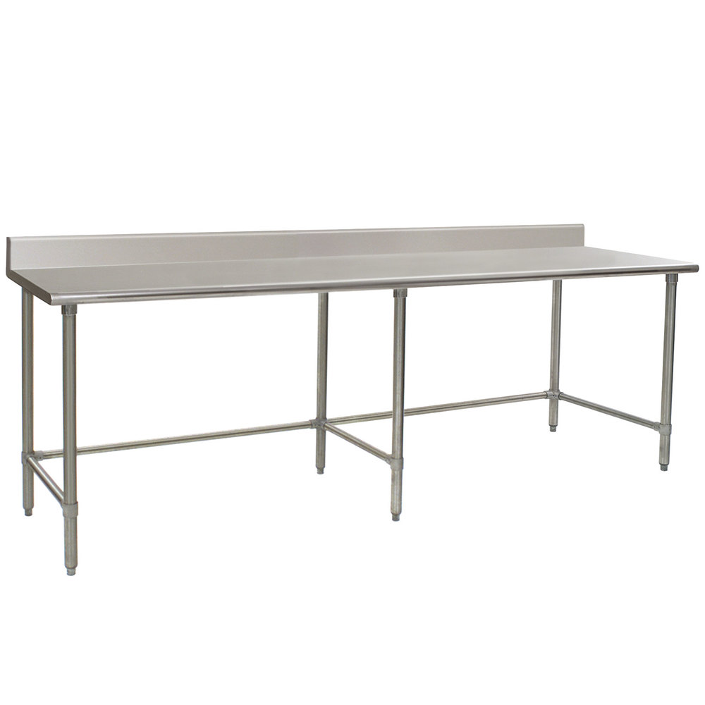"Eagle Group T36108GTB-BS 36"" x 108"" Open Base Stainless Steel Commercial Work Table with 4 1/2"" Backsplash"