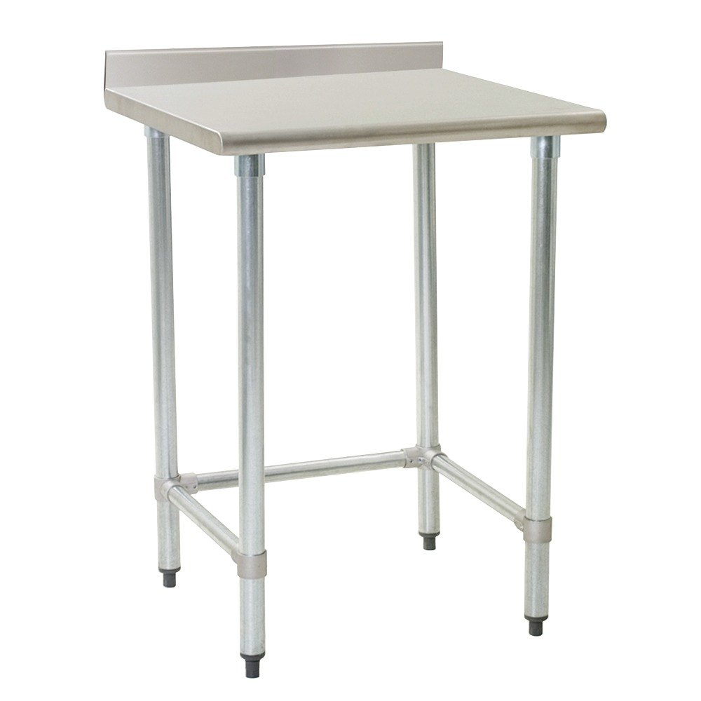 "Eagle Group T3036GTB-BS 30"" x 36"" Open Base Stainless Steel Commercial Work Table with 4 1/2"" Backsplash"