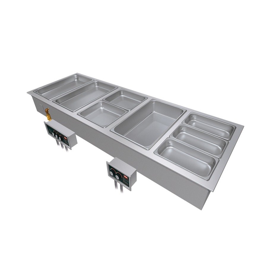 "Hatco HWBI-6M Six Compartment Modular / Ganged Drop In Hot Food Wells with 1"" Manifold Drain"