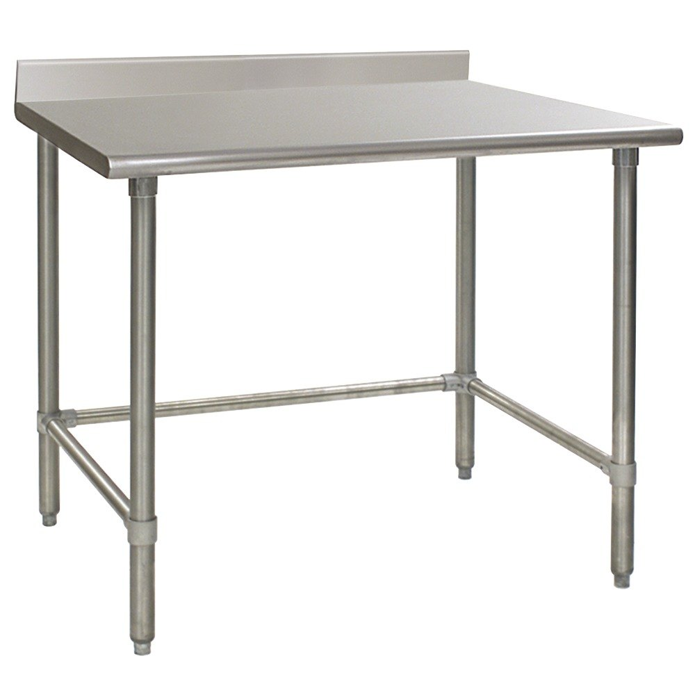 "Eagle Group T3048STEB-BS 30"" x 48"" Open Base Stainless Steel Commercial Work Table with 4 1/2"" Backsplash"