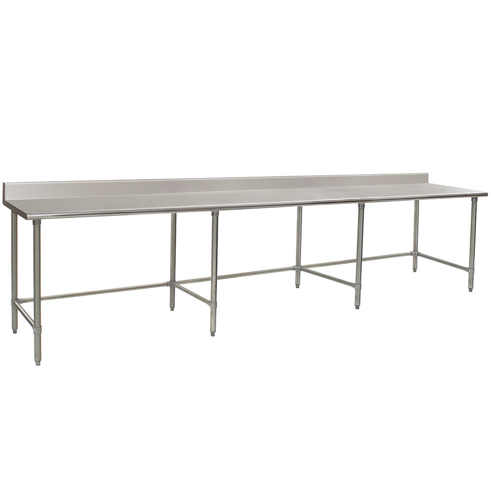 "Eagle Group T36144STE-BS 36"" x 144"" Open Base Stainless Steel Commercial Work Table with 4 1/2"" Backsplash"