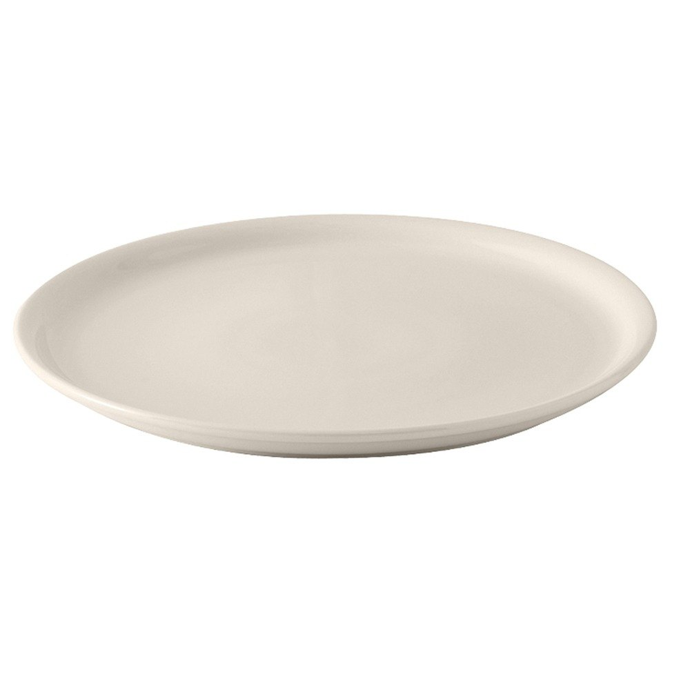 "Tuxton BEA-1311 DuraTux American White (Ivory / Eggshell) 13 1/8"" Pizza Plate - 6 / Case"