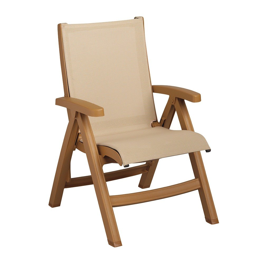 Grosfillex us352008 belize midback folding resin sling armchair teakwood frame khaki sling - Grosfillex chaise longue ...