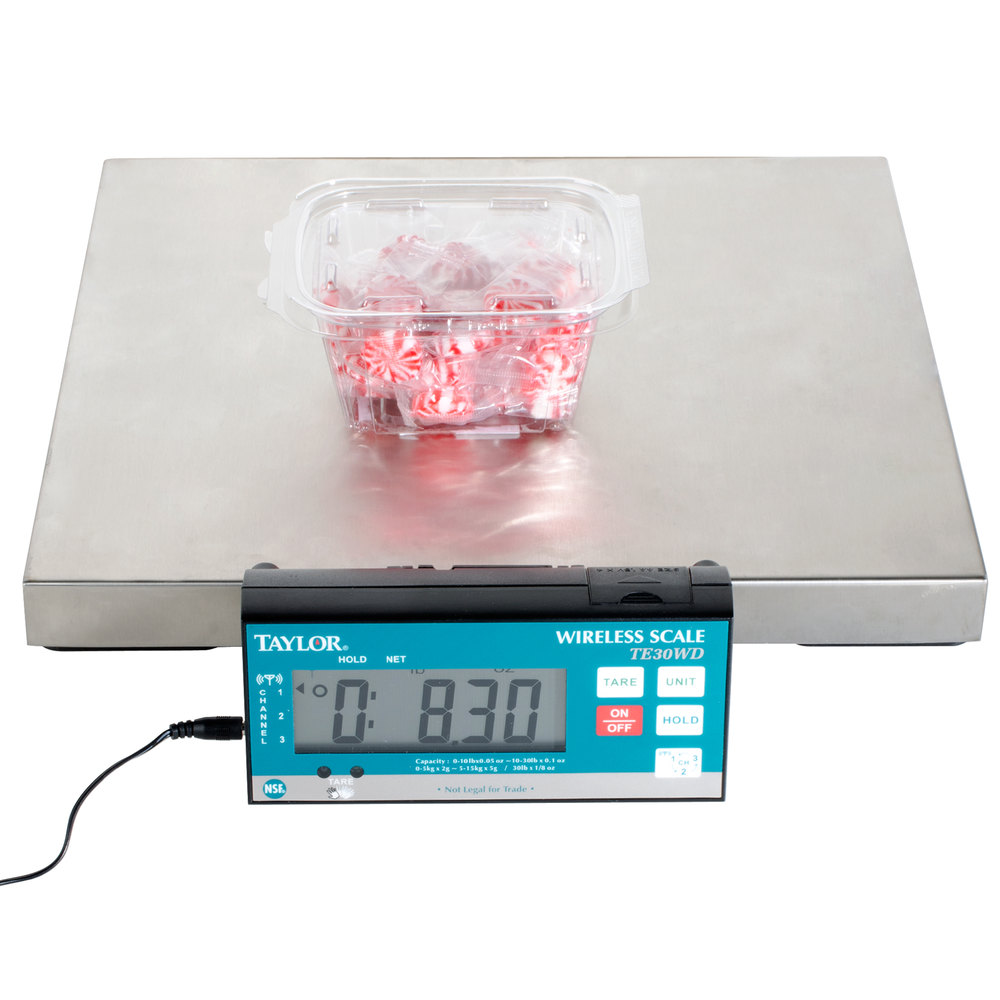 Taylor TE30WD 30 lb. Digital Portion Control Scale with Wireless Display