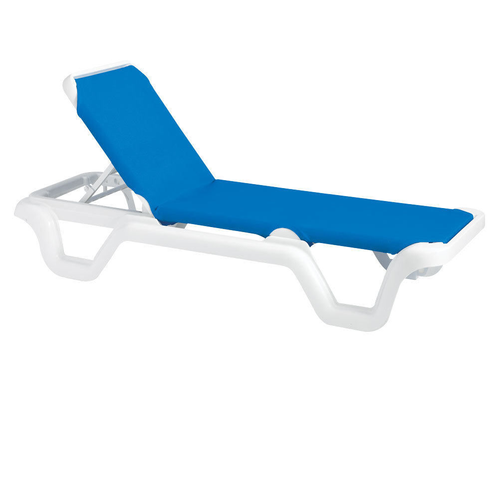 Case of 14 grosfillex 99404006 us404006 marina white for Blue sling chaise lounge