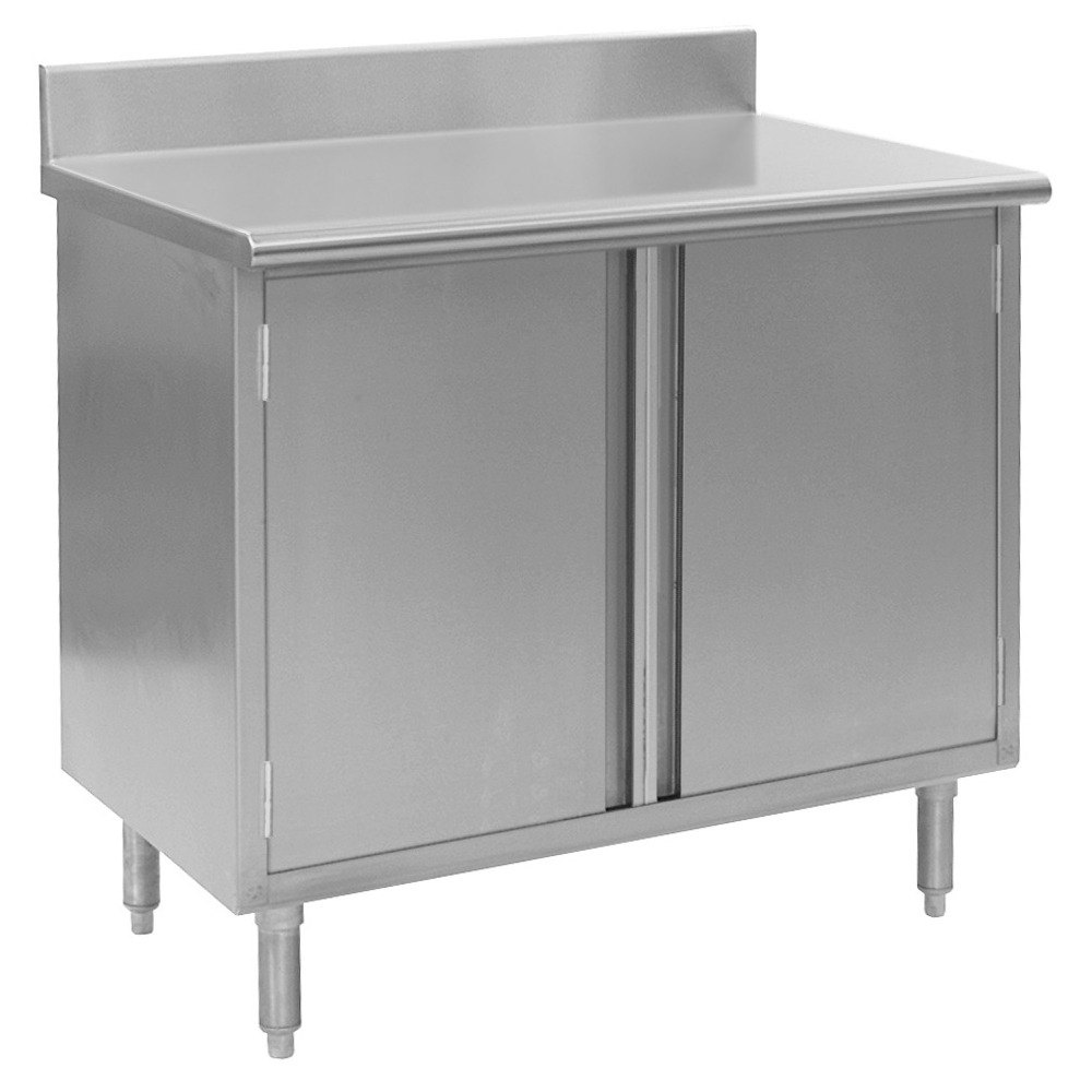 "Eagle Group CBH3084SE-BS 30"" x 84"" Work Table with Cabinet Base and 4 1/2"" Backsplash at Sears.com"