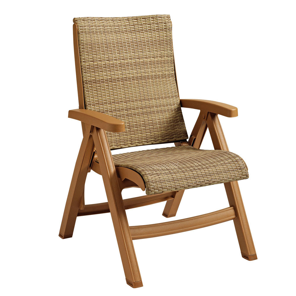 Grosfillex CT Java Wicker Resin Folding Chair Teakwood Frame Honey