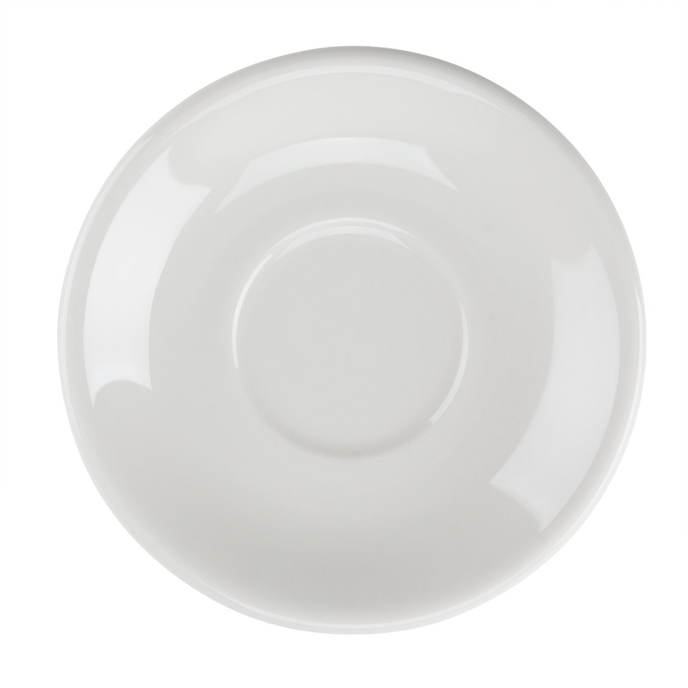 "Tuxton TRE-966 DuraTux American White (Ivory / Eggshell) 6"" Steakhouse Saucer - 24/Case"