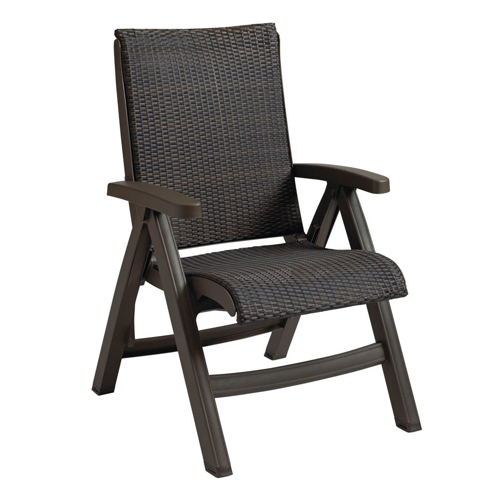 Brown Resin Wicker Folding Chairs Grosfillex Ct356037 Java Chair Bronze Mist Frame Espresso