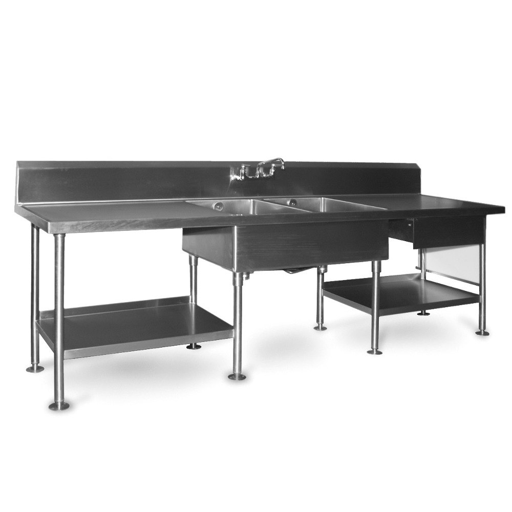 eagle group smpt30108 stainless steel prep table with sink, drawer