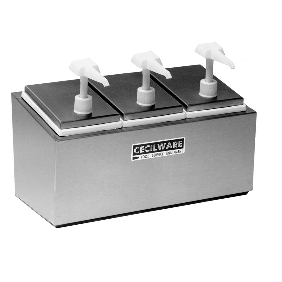 Cecilware 344E Economy Pumps Stainless Steel Condiment Rail with Three Plastic Pumps, Jars, and Covers