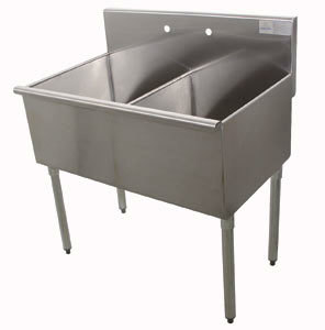 Advance Tabco 6-42-48 Two Compartment Stainless Steel Commercial Sink - 48 inch